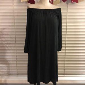 Bobeau | Black off the shoulder tunic dress